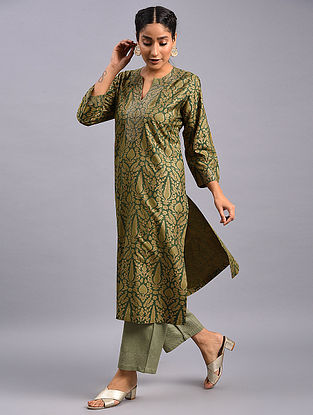 Olive Green Hand Block Printed Tussar Cotton Kurta