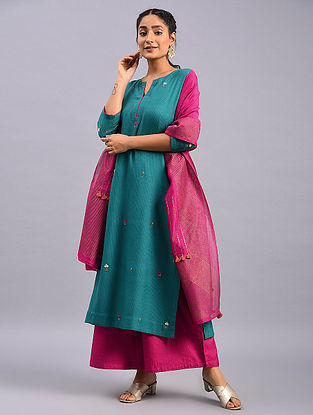 Teal Hand Embroidered Tussar Cotton Kurta