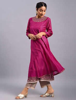 Pink Hand Embroidered Chanderi Kurta