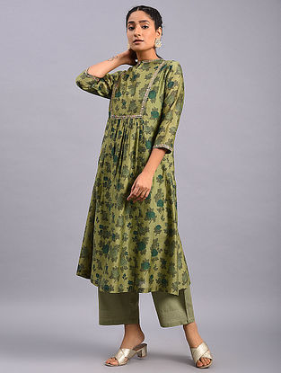 Olive Green Hand Block Printed Chanderi Kurta with Embroidery