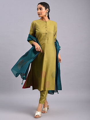 Olive Green Hand Embroidered Tussar Cotton Kurta