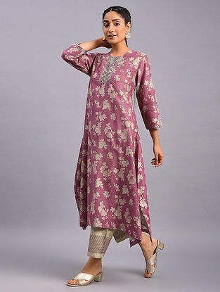 Pink Hand Block Printed Chanderi Kurta with Embroidery