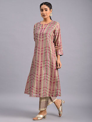 Pink Beige Hand Block Printed Chanderi Kurta with Embroidery