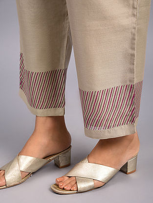 Beige Hand Block Printed Chanderi Pants