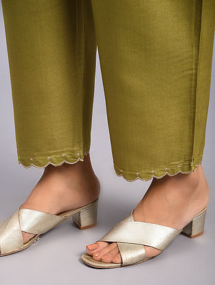 Olive Green Embroidered Tussar Cotton Pants