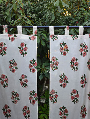 Pink and Green Hand Block-Printed Mulmul Cotton Curtain