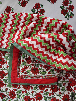 Maroon and Green Hand Block-Printed Mulmul Cotton Reversible Quilt