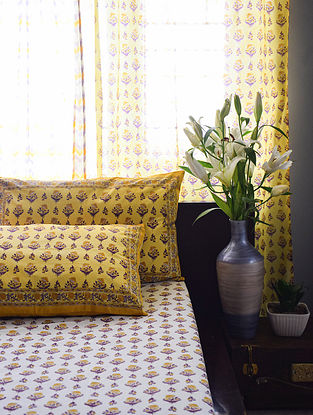 Yellow and Purple Hand Block-Printed Cotton Bedsheet Set