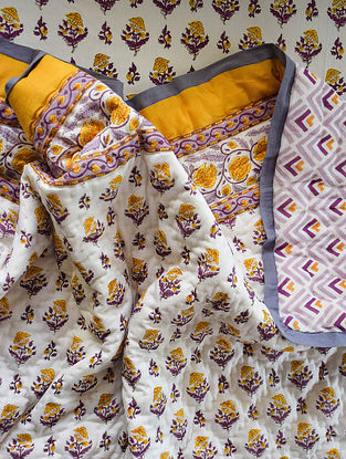 Yellow and Purple Hand Block-Printed Mulmul Cotton Reversible Quilt