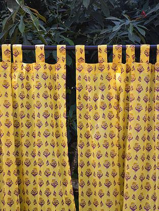 Yellow and Purple Hand Block-Printed Mulmul Cotton Curtain