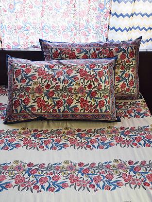 Blue and Pink Hand Block-Printed Cotton Bedsheet Set