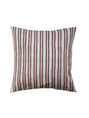 White and Pink Hand Block-Printed Cotton Cushion