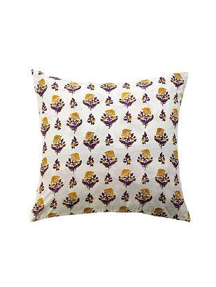 Yellow and Purple Hand Block-Printed Cotton Cushion