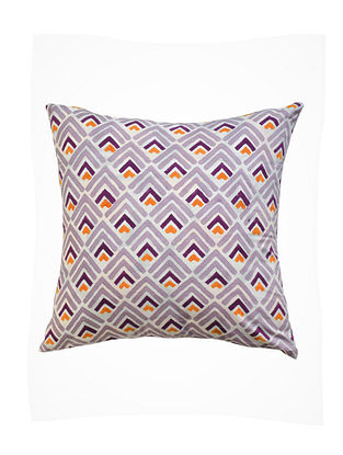 Yellow and Purple Hand Block-Printed Cotton Cushion