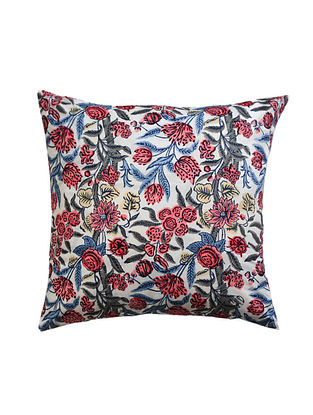 Blue and Pink Hand Block-Printed Cotton Cushion