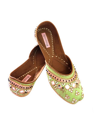 Mint Green Handcrafted Genuine Leather Juttis