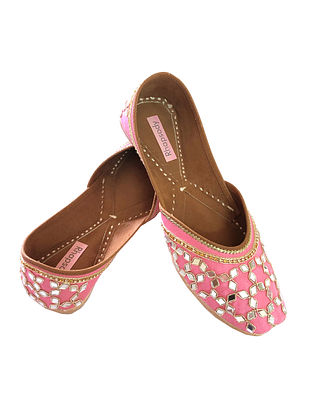 Pink Handcrafted Genuine Leather Juttis