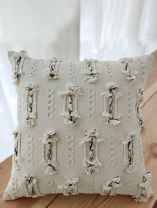 Beige Handcrafted Crewel-Embroidered Cotton Cushion Cover (16in x 16in)