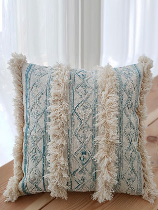 Beige Handcrafted Crewel-Embroidered Cotton Cushion Cover (18in x 18in)