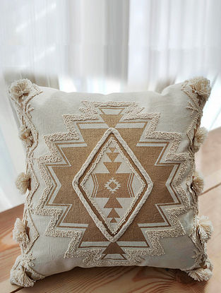 Beige and Gold Handcrafted Crewel-Embroidered Cotton Cushion Cover (18in x 18in)