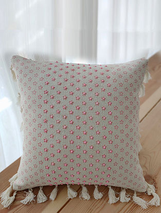 Beige and Pink Handcrafted Cotton Cushion Cover with Tassels (16in x 16in)