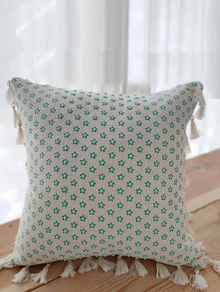 Beige and Mint Handcrafted Cotton Cushion Cover with Tassels (16in x 16in)