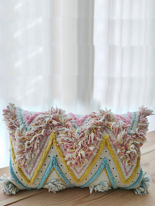 Multicolor Handcrafted Cotton Cushion Cover with Fringes (20in x 12in)