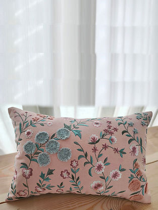 Pink Hand Embroidered Cotton Cushion Cover (18in x 12in)