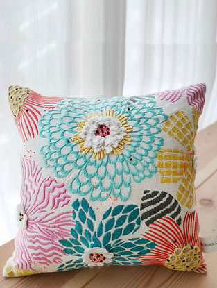 Multicolor Hand Embroidered Cotton Cushion Cover (16in x 16in)
