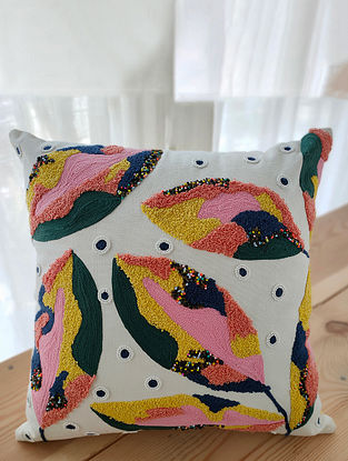 Multicolor Handcrafted Crewel-Embroidered Cotton Cushion Cover (16in x 16in)