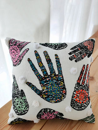 Multicolor Hand-Embroidered Cotton Cushion Cover (16in x 16in)
