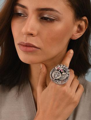 Maroon Dual Tone Silver Adjustable Ring