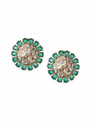 Green Gold Tone Polki Silver Earrings