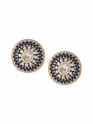 Blue Onyx Gold Tone Polki Silver Earrings