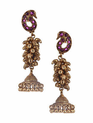 Gold Tone Silver Jhumki Earrings