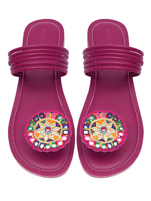 Pink Handcrafted Leather Flats