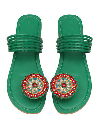 Green Handcrafted Leather Flats