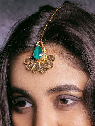 Green Gold Plated Maangtika With Swarovski Crystal