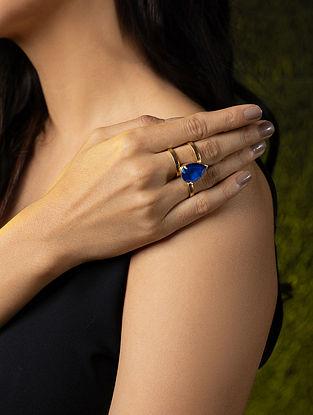 Blue Gold Tone Silver Adjustable Ring With Swarovski Crystal