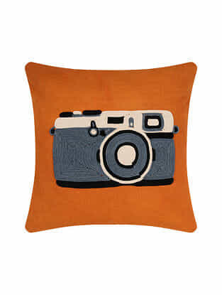 Camera Orange Handcrafted Cotton Cushion Cover with Dori Embroidery (16in x 16in)