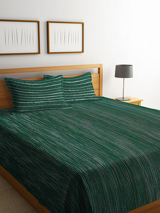 Green Handwoven Cotton Double Bedcover with Pillow Covers (Set of 3)