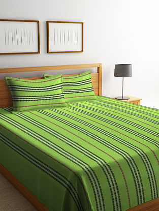 Parrot Green Handwoven Cotton Double Bedcover with Pillow Covers (Set of 3)
