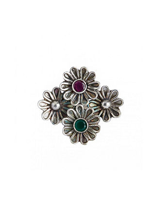Maroon Tribal Sterling Silver Adjustable Ring with Green Onyx
