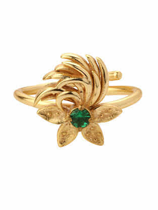 Green Gold Plated Adjustable Rings (Set of 2)