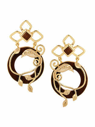 Brown White Gold Plated Rosewood  Earrings