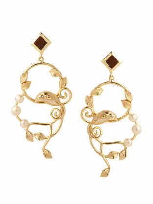 Brown White Gold Plated Rosewood Earrings with Pearls