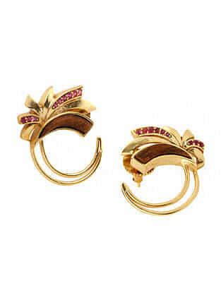 Brown Maroon Gold Plated Rosewood Earrings