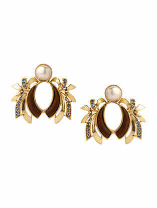 Brown Blue Gold Plated Rosewood Earrings with Pearls