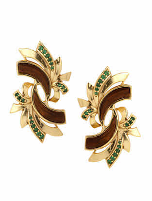 Brown Green Gold Plated Rosewood Earrings
