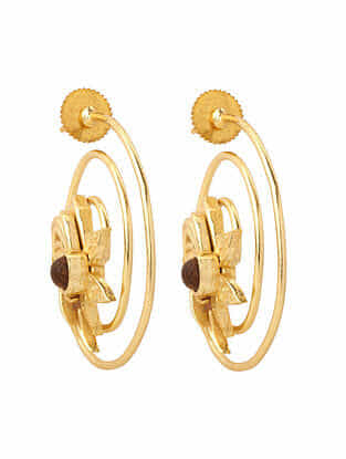 Brown Gold Plated Rosewood Earrings
